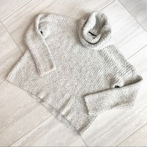 Chunky Fuzzy Cowl Neck Drop Shoulder Sweater